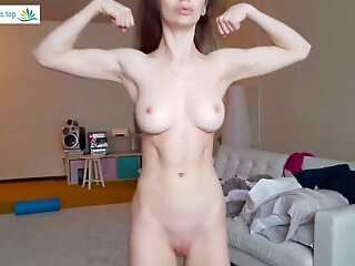 Fit Girl Strips Naked and Shows Off her Muscles